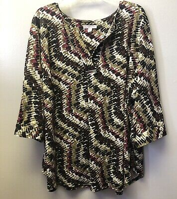 46d1f4ca67a DB Dressbarn Womens Plus 3X Pleat Front 3/4 Sleeve Stretchy V Neck Blouse