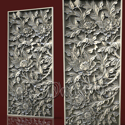 3D Model STL for CNC Router Artcam Aspire Flowered Long Panel Cut3D Vcarve
