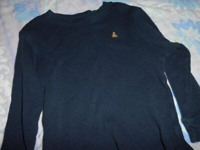 euc Baby Gap navy teddy bear logo thermal shirt boy 4T free ship USA