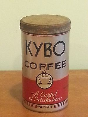 Antique Vintage Advertising Tin KYBO Coffee Boston, MA c. 1920 Screw on Lid RARE