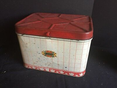 Antique Vintage Kitchen Metal Bread Box with Red Lid