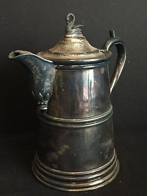 Antique Silver Plated Thompson's Double Wall Water Pitcher c. 1850s with Swan