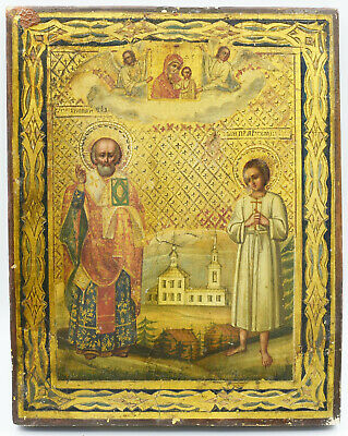 Wunderschöne russische IKONE 19.Jh. - Russian ORTHODOX ICON 19th Century