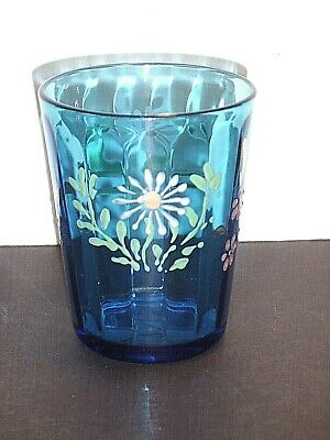 9 Ounce Paneled Blue Glass Tumbler w/ Hand Painted Enamel Floral Decoration **