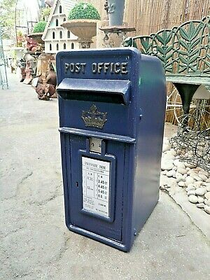 Royal Mail Cast Iron Scottish Crown Blue Post Box