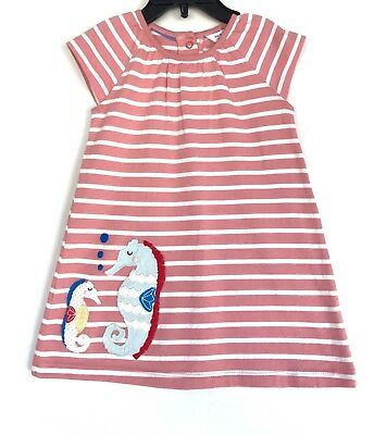 Mini Boden Baby Dress Seahorse Appliqué 3-6 Month Retail $39.00 Price $28 NWT