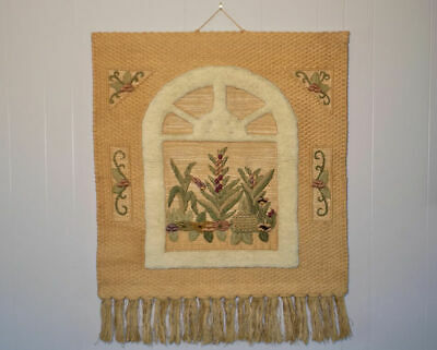 "44"" I. C. A. tapestry weaving wall hanging art Jute Wool Silk India ica boho"