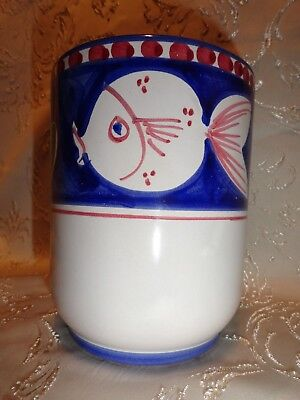 "Caddy Holder Solimene Vietri Italy Fish Pesce Blue Campagna Pottery 5-5/8"" T"