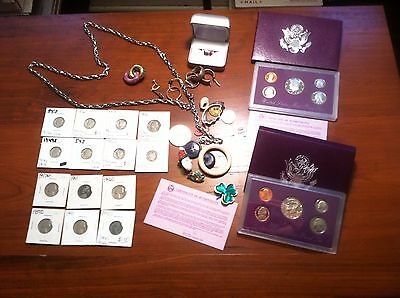 Silver Earrings Sterling ring Mercury Dime Roosevelt Barber Proof Sets Coin LOT