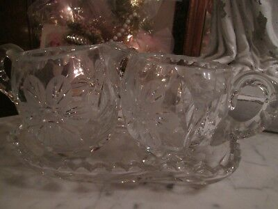 Antique American Brilliant Deep Cut Crystal Heavy Sugar Bowl Creamer, & Tray Set