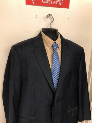 Jos A Bank Signature Gold Suit Jacket Size 44R Navy Blue Stripes Wool F-5
