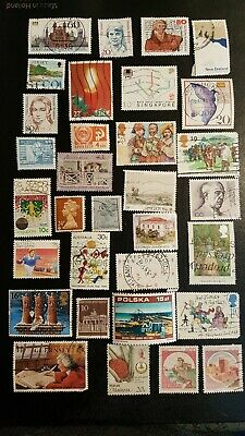 World stamps100++Used  lot all different Italy  Brazil Singapore Japan and more