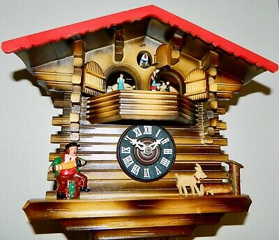 *** Vintage Animated Swiss Chalet Musical Black Forest Cuckoo Clock**
