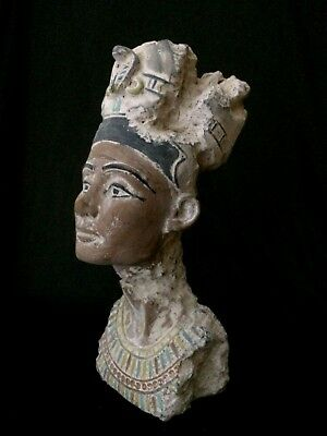ANCIENT EGYPT EGYPTIAN ANTIQUES Statue NEFERTIT, QUEEN Head Stone 1353–1336, BC