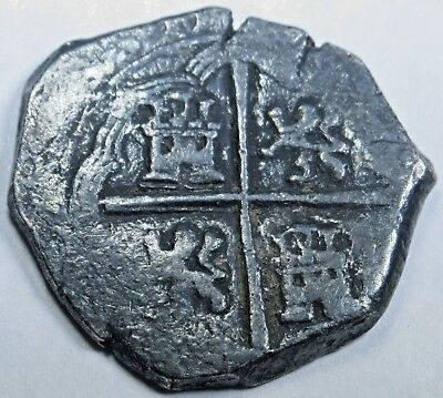1500's Spanish Silver 2 Reales Piece of 8 Real Cob Colonial Pirate Treasure Coin