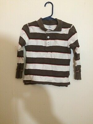 Boy's Old Navy Size 4T Brown Stripe Long Sleeve Polo Shirt