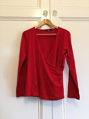 Belly Basics Size Large Red Wrap Style Maternity Top