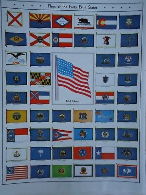 Vintage 1952 - 48 STATE FLAGS ILLUSTRATION ~Authentic Original 60 Year Old 72818