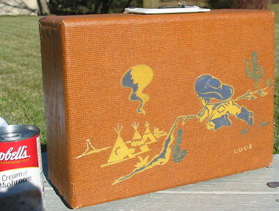 Antique Vintage Wood Wooden Suitcase Child's Toy Luggage Cowboy Indian Scene Old