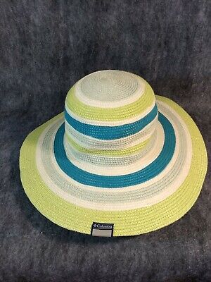 c1f5fe58c63c1 Womens Columbia Wide Brim Straw Hat Blue Striped Sun Summer Vacation Cruise