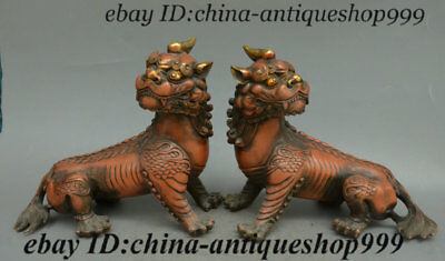 "8"" Antique Old Chinese Bronze Gilt Pixiu Brave troops Unicorn Beast Staute Pair"