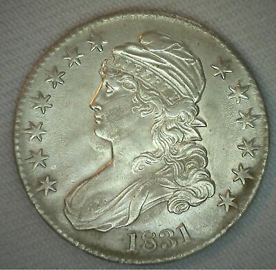 1831 Early Capped Bust Silver Half Dollar AU 50c US Type Coin Almost UNC #B