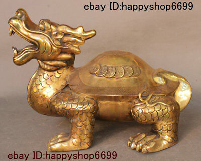 China Copper Brass Feng shui Animal God Dragon Tortoise Loong Turtle Coin Statue