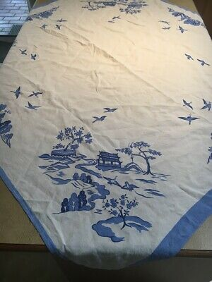 Pretty vintage linen tablecloth blue and white willow large supper or tea cloth