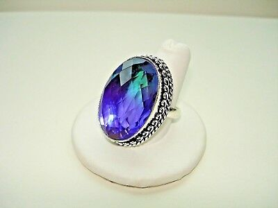 AB Purple Green Multi-Tourmaline Quartz One-Of-A-Kind .925 Silver Ring 10.5
