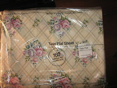 "Vintage JC Penney's One (1)  Flat Twin Sheet Floral Daphne Print 66"" x 96"""