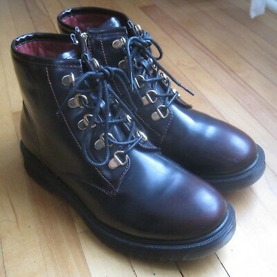 Electric Karma Burgundy Alpina Womens 7 5 Black Patent Leather Boots Zippers