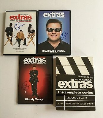 Ricky Gervais Signed Autographed Extras Complete Series -  5 DVD Disc Set