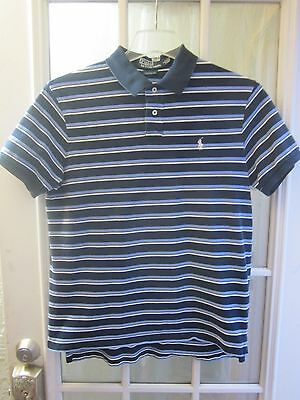 Polo by Ralph Lauren Blue Striped Short/S White Pony/L Polo Shirt Men L **VG**