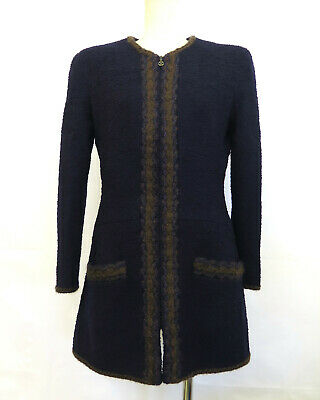 100% Authentic CHANEL Wool  Ladies Jacket Navy Made In France Size 40