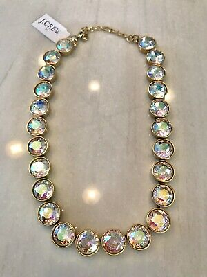 1c2e9b71123f64 NWT J.Crew Factory Iridescent Crystal Dots Brulee Necklace Gold Hardware