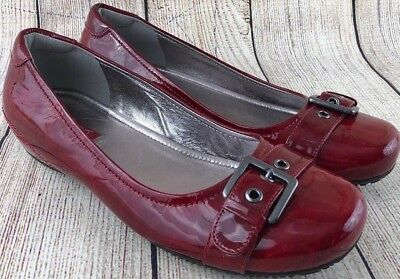1c80e9a2cd81 Ecco Red Patent Leather Slip On Ballerina Flats Shoes Women s Size US 8 EU  39