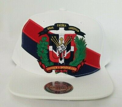 84eb7ae883d65 MITCHELL   NESS Dominican Republic Snapback Hat Cap BLACK RED DR ...