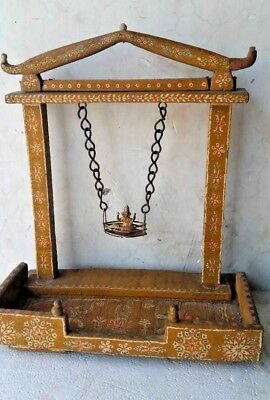 Antique Old Wooden Hand Carved Painted Work Hindu GOD GANESH  Temple Swing