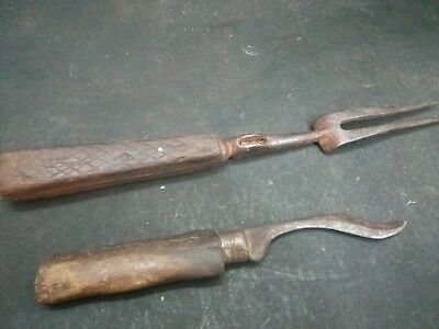 Antique Very Rare Mughal Hand Forged  Iron Spear Head And Deger