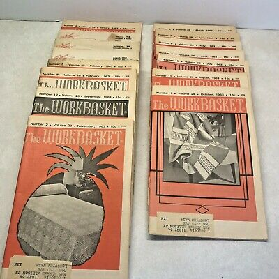 Workbasket Needlecraft Magazines Lot of 15 From 1950s and 1960s Vintage