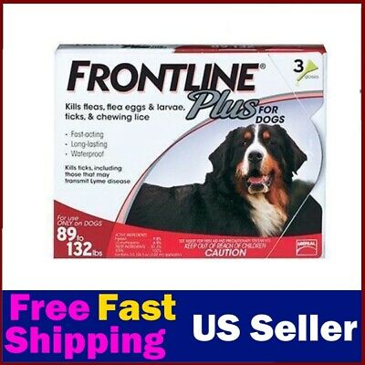 Frontline Plus for DOGS 89-132lbs (3 Doses) For X-large dog / 100% Genuine EPA