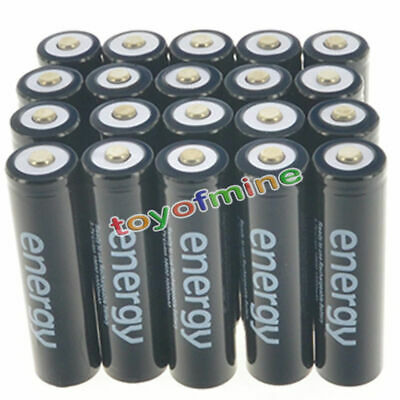 20pcs 18650 3.7V 10000mAh Energy Li-ion Rechargeable Battery Black Cell USA