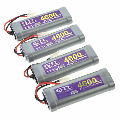 4x GTL 7.2V 4600mAh Ni-MH Rechargeable Battery batteries pack for RC Tamiya Gray