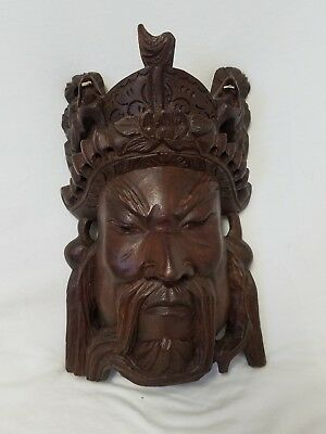 Vintage Carved Chinese Wall Mask Of Man With Dragon Bone Teeth Glass Eyes