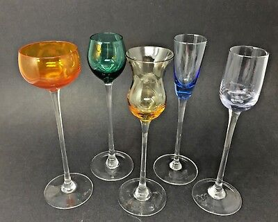 Vintage Barware 5 assorted Glasses Cordial Multi Colored Stemware Liquor