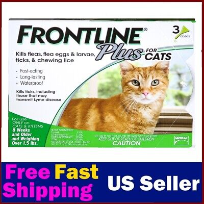 Frontline Plus Flea & Tick Control for Cats, Kittens Over 1.5 lbs, 3 Doses