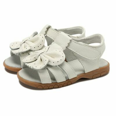 Kids Girls Genuine Leather Bowtie Shoes Children White Sandals Casual Fashion