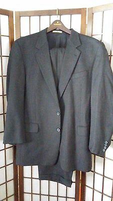 Men's Suit JOSEPH ABBOUD 100% WOOL Two Button 2 Piece Black 40R
