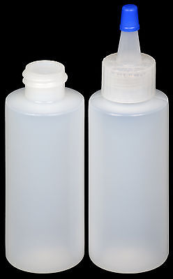Plastic Spout Lid Dropper/Applicator Bottle w/Blue Overcap, 2-oz., 30-Pack, New