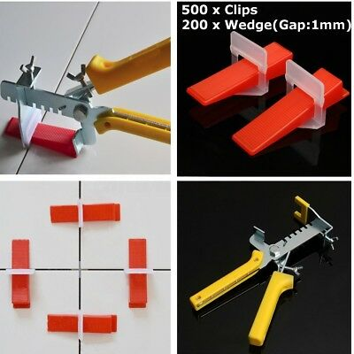1000pcs Tile Leveling Spacer System Wedges & Clips & Pliers Tool Tiling